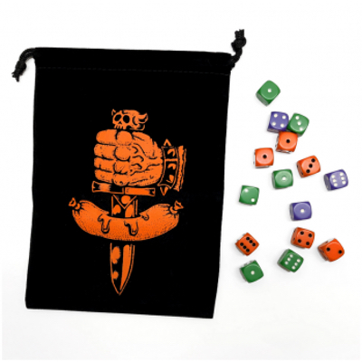 Dungeon Degenerates: Dice Bag and Dice