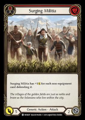 """MON287: Surging Militia (Red) – (C) """"Foil"""""""