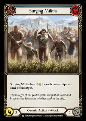 """MON289: Surging Militia (Blue) – (C) """"Foil"""""""