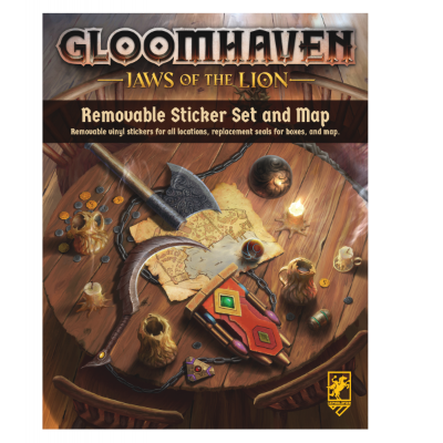 """Gloomhaven: Jaws of the Lion """"Removable Sticker Sheet and Map"""""""